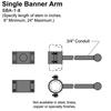 "8"" Single Banner Arm Thumbnail"