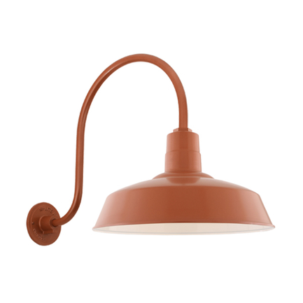 "20"" shade with HL-O gooseneck arm in 113 Painted Copper finish"