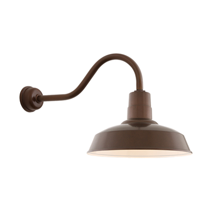 "14"" shade with HL-A gooseneck arm in 100 Dark Brown finish with DCC accessory"
