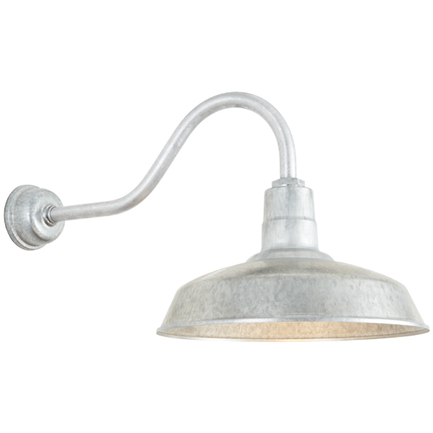 """16"""" shade with HL-A gooseneck arm in 96 Galvanized finish with DCC accessory"""