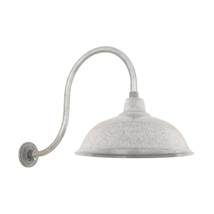 """16"""" RLM shade with HL-D gooseneck arm in 96 Galvanized finish"""