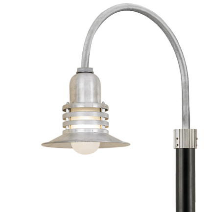 """10"""" shade with frost glass and P-1 post arm in 96 galvanized finish"""