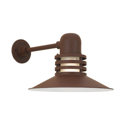 """14"""" shade with frost glass in BR47 powder coat rust finish"""