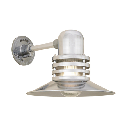 """12"""" shade with clear ribbed glass in 98 polished aluminum finish"""