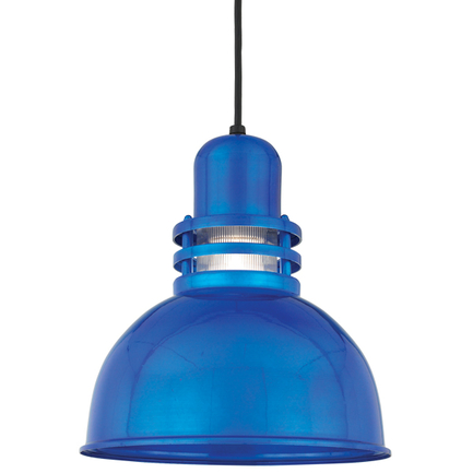 """12"""" shade with clear ribbed glass in 123 Trans Blue finish with CB8 mounting"""