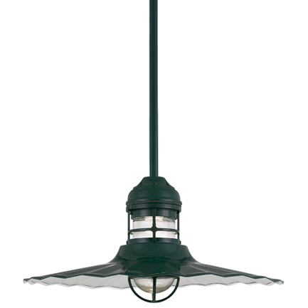 """24"""" shade with frost glass and ST3 in 96 Dark Green finish"""