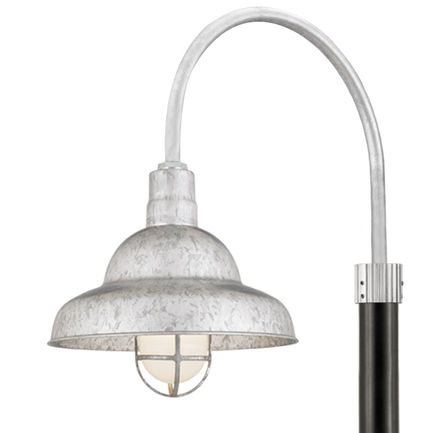 """16"""" shade, P-1 post arm, CGU accessory with frost glass in 96 Galvanized finish, 3"""" smooth pole in 9"""