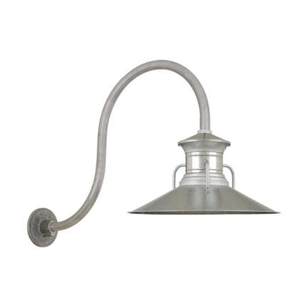 """18"""" shade with HL-D gooseneck arm  in 96 Galvanized finish"""