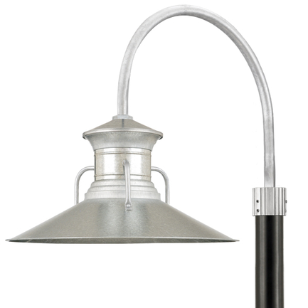 "24"" shade with P-1 post arm in 96 Galvanized finish, 3"" smooth pole in 91 Black finish"