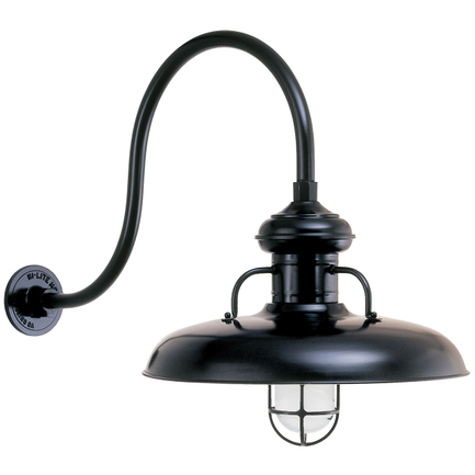 """18"""" shade, CGU accessory with frost glass, HL-D gooseneck arm in 91 Black finish"""