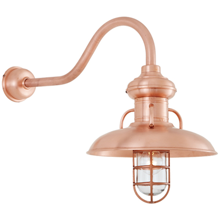 """16"""" shade, CGU accessory with frost glass, HL-D gooseneck arm, DCC accessory in 48 Raw Copper finish"""