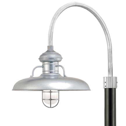 """18"""" shade, CGU accessory with frost glass, P-1 post arm in 96 Galvanized finish, 3"""" smooth pole in 9"""