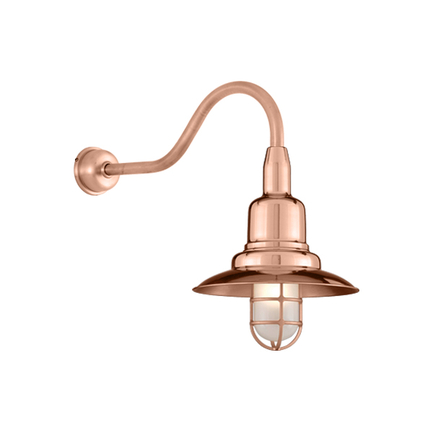 """12"""" shade in 44 Polished Copper finish with HL-A gooseneck arm and DCC accessry in 48 Raw Copper fin"""