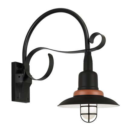 """18"""" shade with B-28 gooseneck arm in 91 Black finish with 113 Painted Copper finish"""