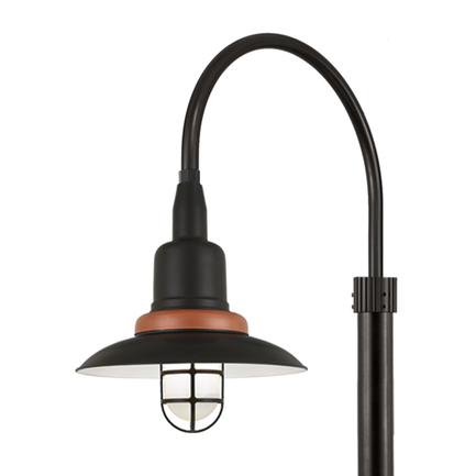 """18"""" shade with frost glass, P-1 post arm and 3"""" smooth pole in 91 Black finish"""