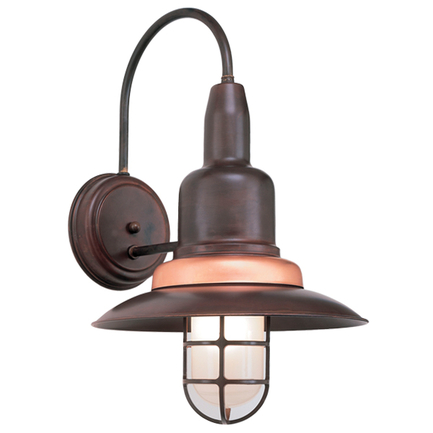"""12"""" wall light in 77 rosewood finish, with 24 copper ring"""