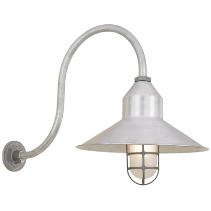 """16"""" shade in 102 raw aluminum finish, with HL-D arm in 102 raw aluminum, LCGU w/ frost glass and 102"""