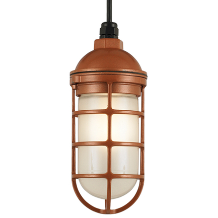 Small fixture in 113 metallic copper finish w/ frost glass, 8 ft. black cord with 91 black canopy