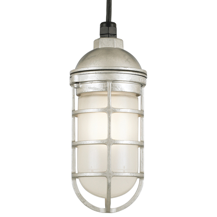 Small fixture in 96 galvanized finish w/ frost glass, 8 ft. black cord with 91 black canopy
