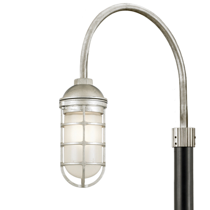 Small fixture in 96 galvanized finish w/ frost glass, P-1 post arm in 96 galvanized finish