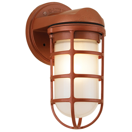 Small fixture in 113 metallic copper with frost glass