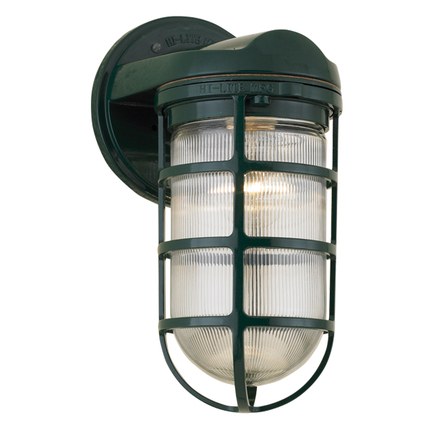 Large fixture with clear ribbed glass in 95 dark green finish