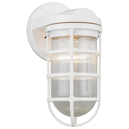 Small fixture with clear ribbed glass in 93 white finish