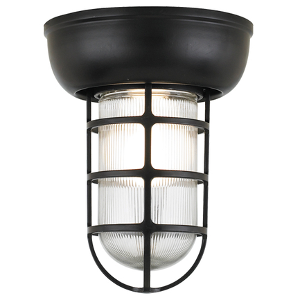 Small fixture in 91 Black finish with clear ribbed glass