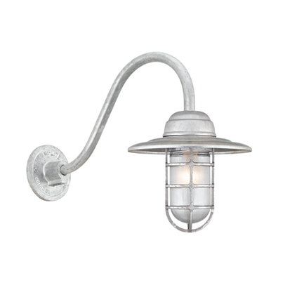 """10"""" shade in 96 galvanized finish w/ frost glass, B-1 gooseneck arm in 96 galvanized finish"""