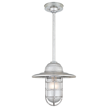 """10"""" shade in 96 galvanized finish w/ frost glass, 12"""" ST3 w/ HSC in 96 galvanized finish"""