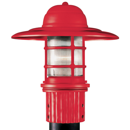 Small fixture in 97 red finish with clear ribbed glass