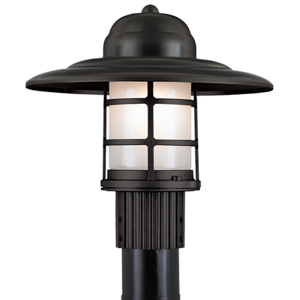 Large fixture in 91 black with frost glass