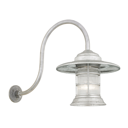 Mini fixture with HL-D arm in 96 galvanized with clear ribbed glass
