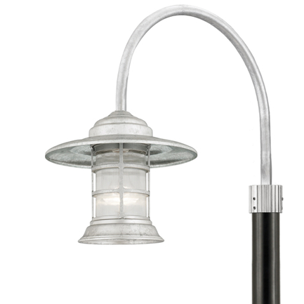 "13"" shade with clear ribbed glass, P-1 post arm in 96 galvanized"