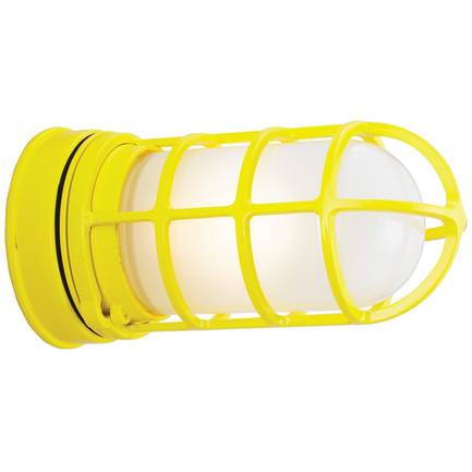 Small fixture with GD-1 in 92 yellow finish with frost glass