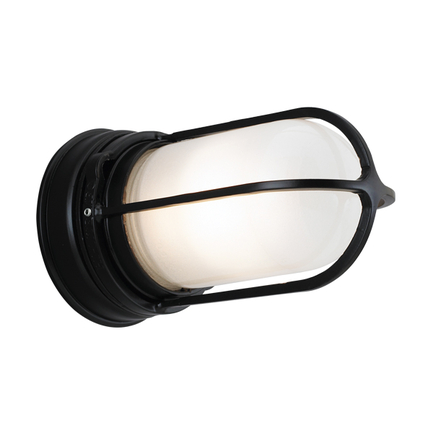 Mini fixture with GD-1 guard in 91 black with frost glass