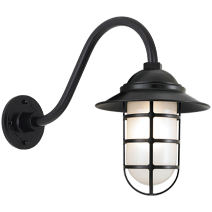 """10"""" shade with B-1 gooseneck arm in 91 Black finish and frost glass"""