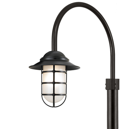 """9"""" shade with P-1 post arm and 3"""" smooth pole in 91 Black finish with Frost Glass"""