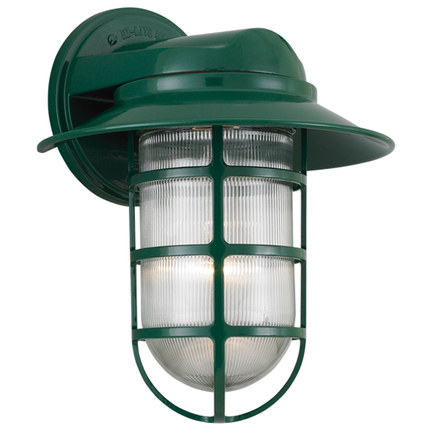 "10"" shade with clear ribbed glass in 29 french green"