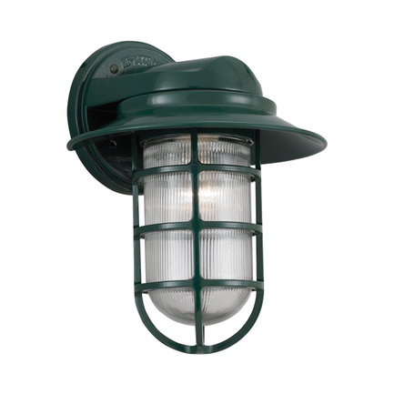 "8"" shade with clear ribbed glass in 95 dark green"