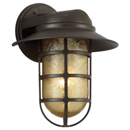"""10"""" shade with amber crackle glass in 119 bronze"""