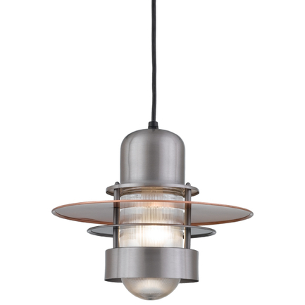 """10"""" shade in 11 Satin Steel with clear ribbed glass and CB8 mounting"""
