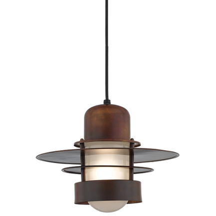"""14"""" shade in 77 Rosewood finish and frost glass with CB8 mounting"""