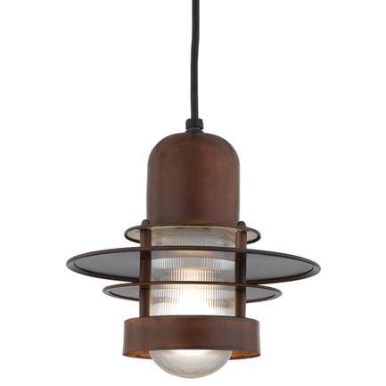 """8"""" shade in 77 Rosewood finish and clear ribbed glass with CB8 mounting"""