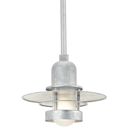 """12"""" shade with ST2 in 96 Galvanized finish with frost glass"""