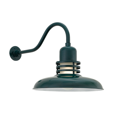 """18"""" shade with frost glass and HL-A arm in 95 dark green finish"""