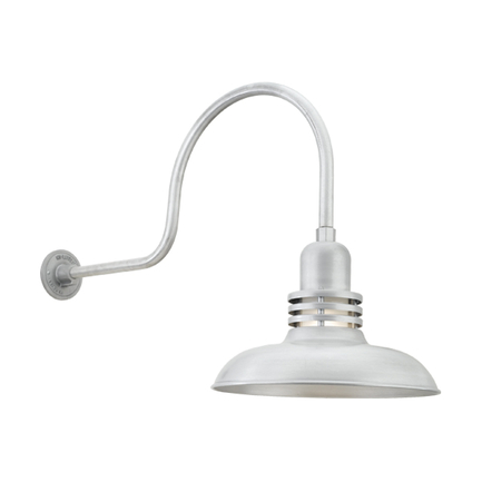 """16"""" shade with frost glass and HL-C arm in 101 brushed aluminum finish"""