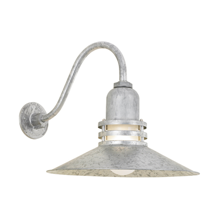 """16"""" shade with frost glass and B-1 arm in 96 galvanized finish"""