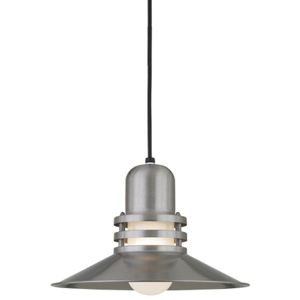 """14"""" shade with frost glass in 11 satin steel finish, 8 ft. black cord in 91 black finish"""