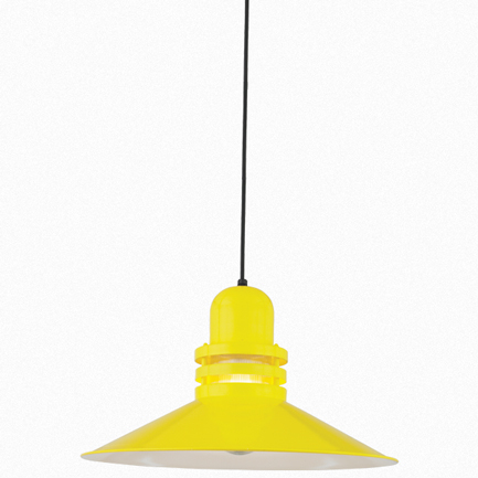 """22"""" shade with clear ribbed glass in 92 yellow finish, 8 ft. black cord with 91 black canopy"""